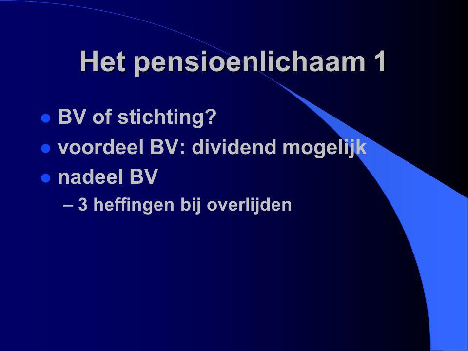 Het pensioenlichaam 1 BV of stichting voordeel BV: dividend mogelijk