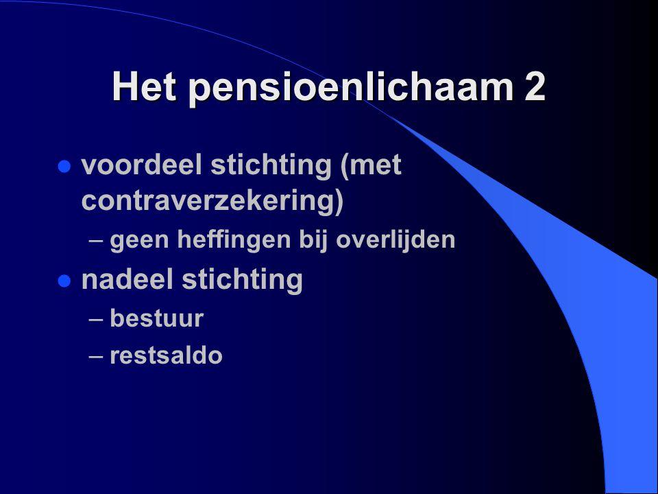 Het pensioenlichaam 2 voordeel stichting (met contraverzekering)
