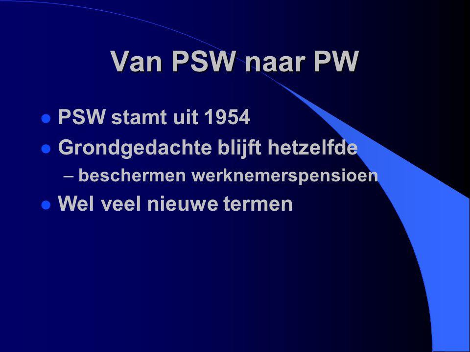 Van PSW naar PW PSW stamt uit 1954 Grondgedachte blijft hetzelfde