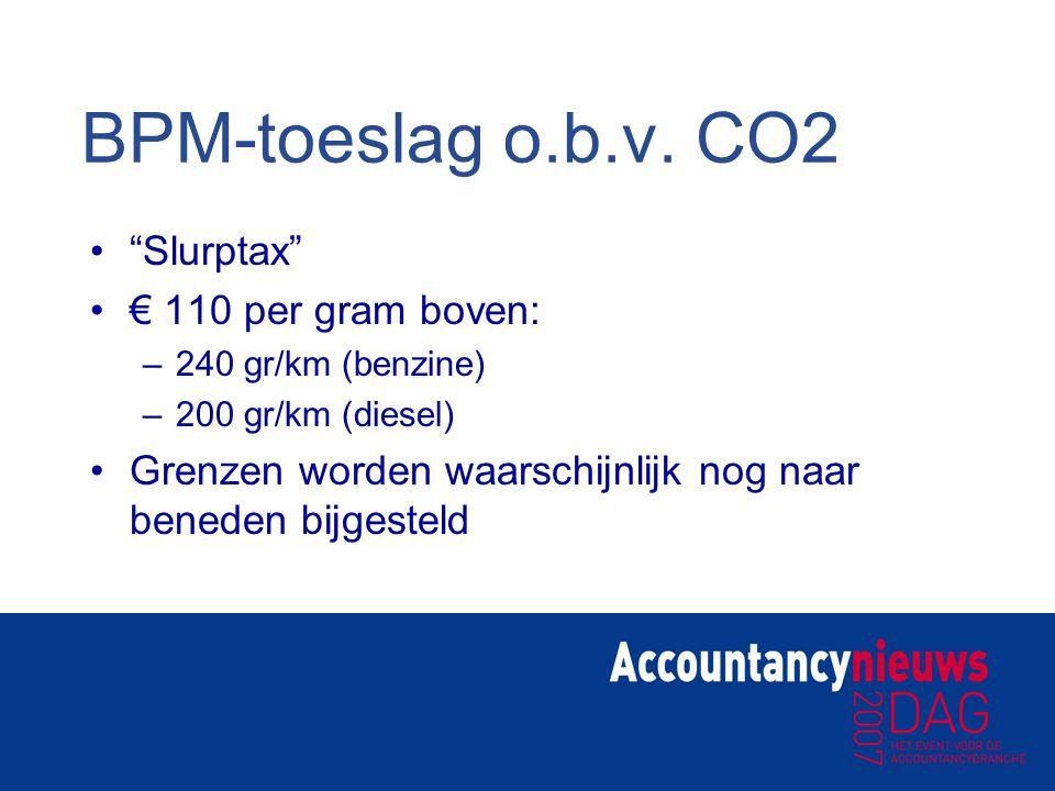 BPM-toeslag o.b.v. CO2 Slurptax € 110 per gram boven: