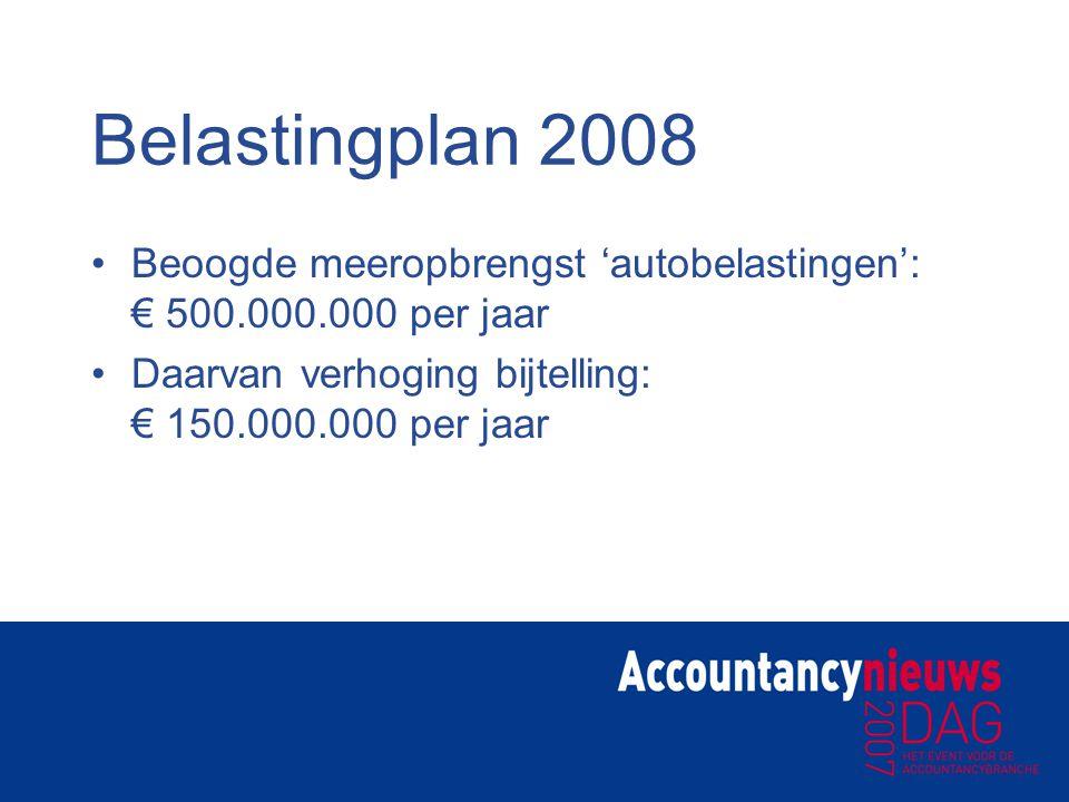 Belastingplan 2008 Beoogde meeropbrengst 'autobelastingen': € 500.000.000 per jaar.