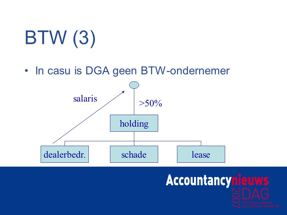 BTW (3) In casu is DGA geen BTW-ondernemer salaris >50% holding