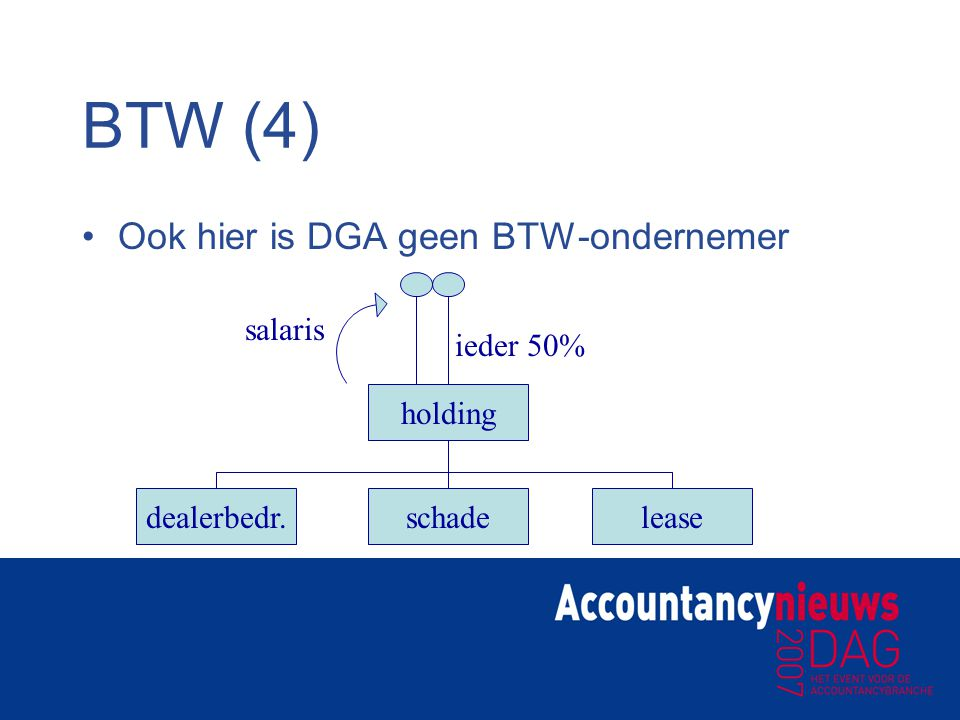BTW (4) Ook hier is DGA geen BTW-ondernemer salaris ieder 50% holding