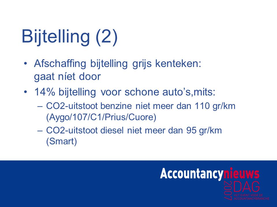 Bijtelling (2) Afschaffing bijtelling grijs kenteken: gaat níet door
