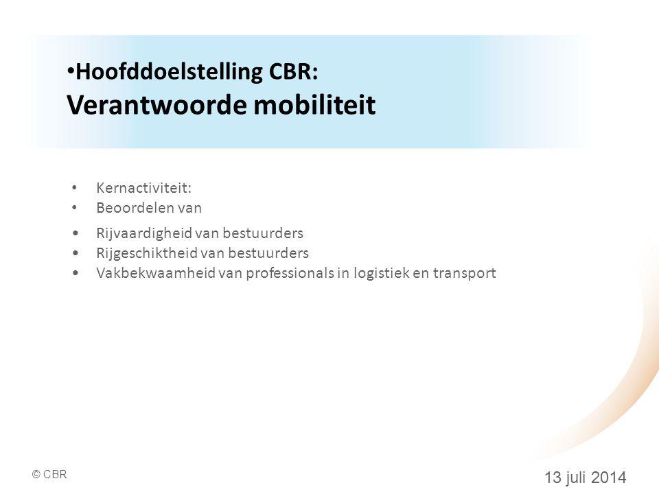 Hoofddoelstelling CBR: Verantwoorde mobiliteit