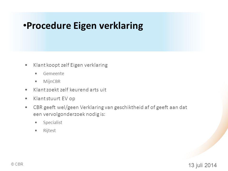 Procedure Eigen verklaring