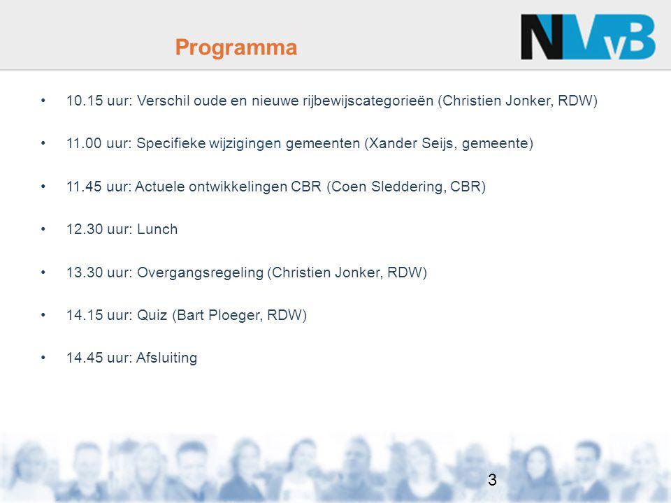 Programma 10.15 uur: Verschil oude en nieuwe rijbewijscategorieën (Christien Jonker, RDW)
