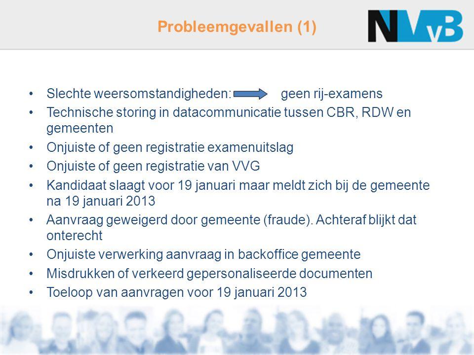 Probleemgevallen (1) Slechte weersomstandigheden: geen rij-examens