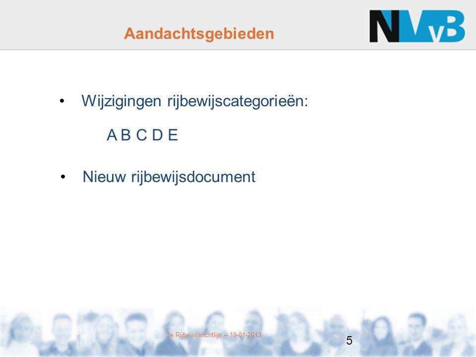 Wijzigingen rijbewijscategorieën: A B C D E