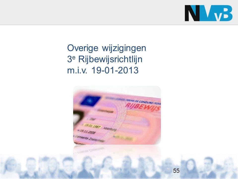 Overige wijzigingen 3e Rijbewijsrichtlijn m.i.v. 19-01-2013