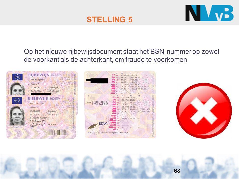 STELLING 5 Op het nieuwe rijbewijsdocument staat het BSN-nummer op zowel de voorkant als de achterkant, om fraude te voorkomen.