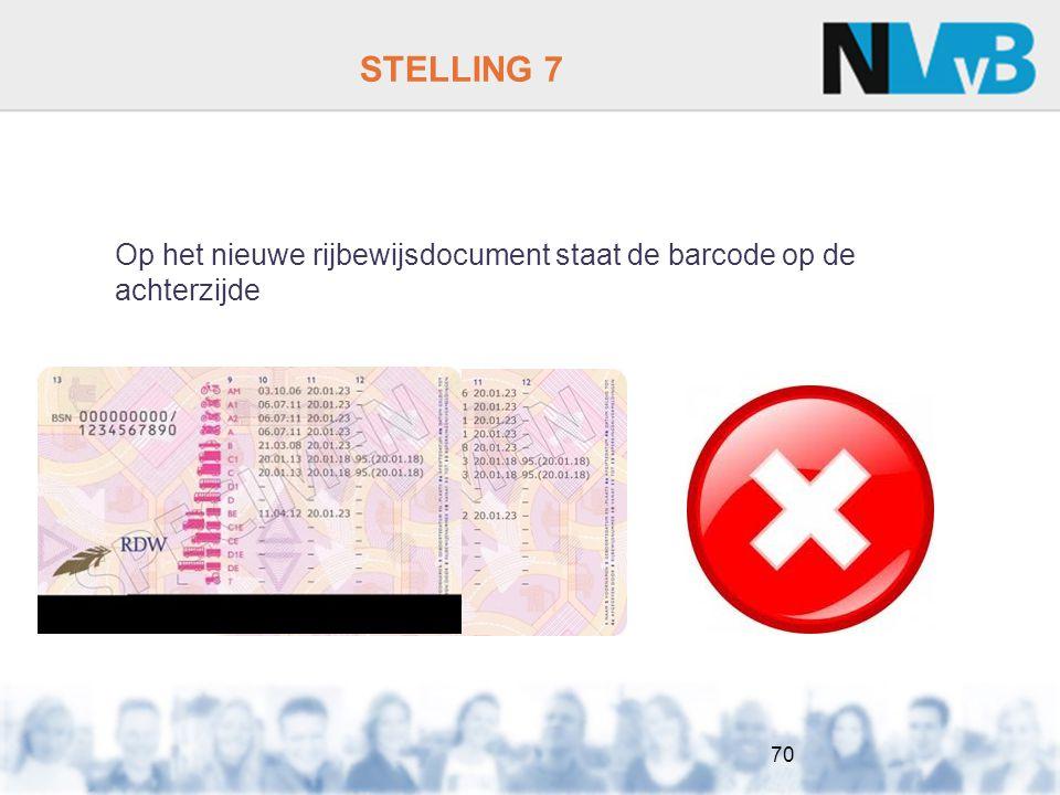 STELLING 7 Op het nieuwe rijbewijsdocument staat de barcode op de achterzijde