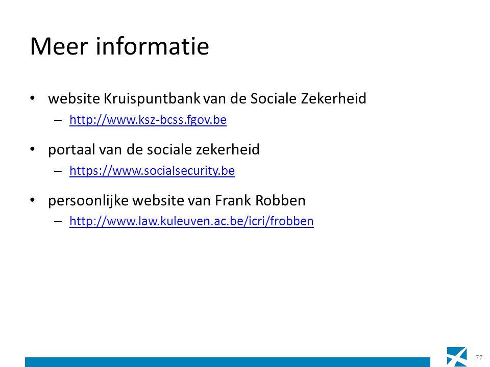 Meer informatie website Kruispuntbank van de Sociale Zekerheid