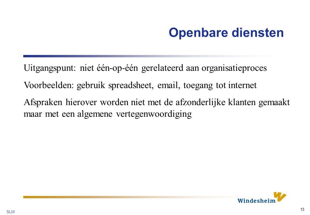 Openbare diensten Uitgangspunt: niet één-op-één gerelateerd aan organisatieproces. Voorbeelden: gebruik spreadsheet, email, toegang tot internet.