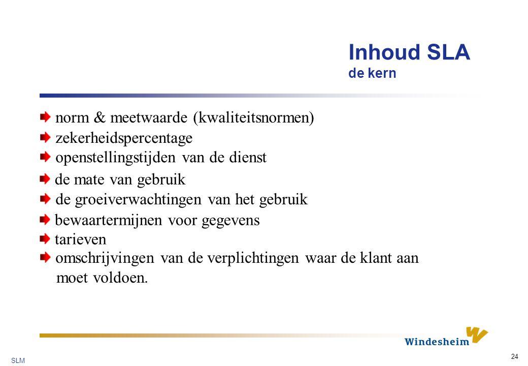 Inhoud SLA de kern norm & meetwaarde (kwaliteitsnormen)