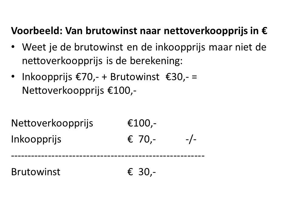 Voorbeeld: Van brutowinst naar nettoverkoopprijs in €