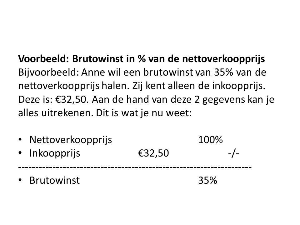 Voorbeeld: Brutowinst in % van de nettoverkoopprijs
