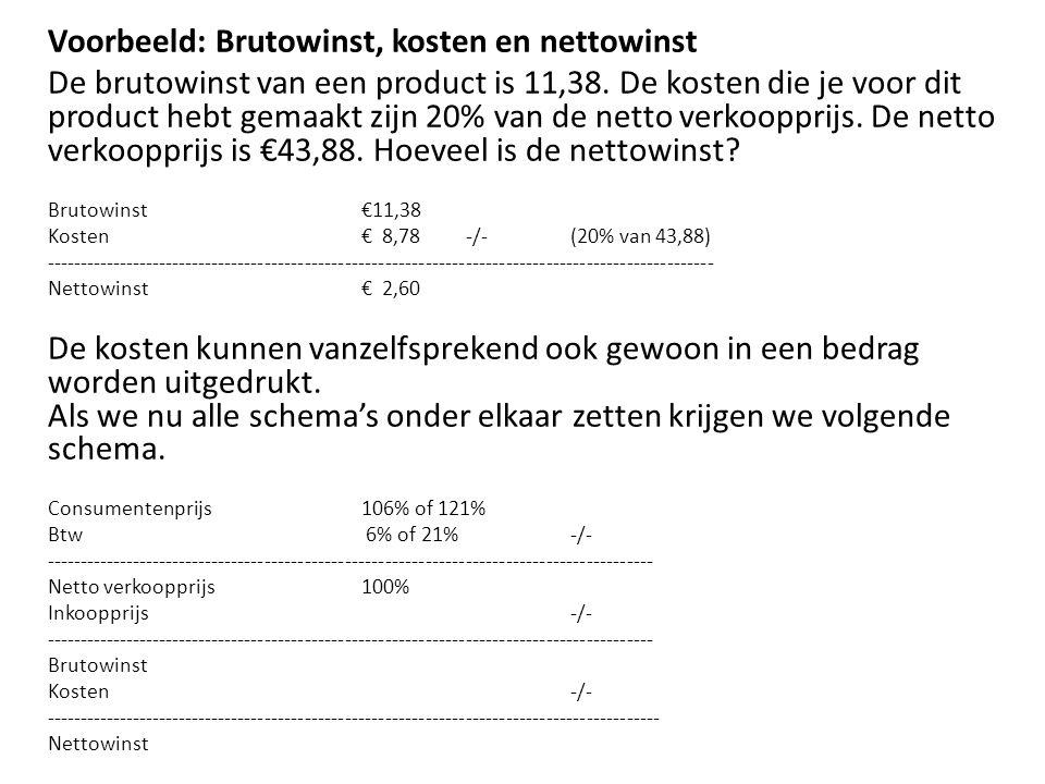 Voorbeeld: Brutowinst, kosten en nettowinst