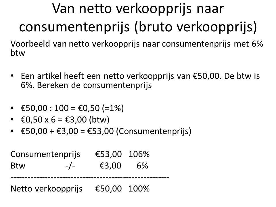 Van netto verkoopprijs naar consumentenprijs (bruto verkoopprijs)