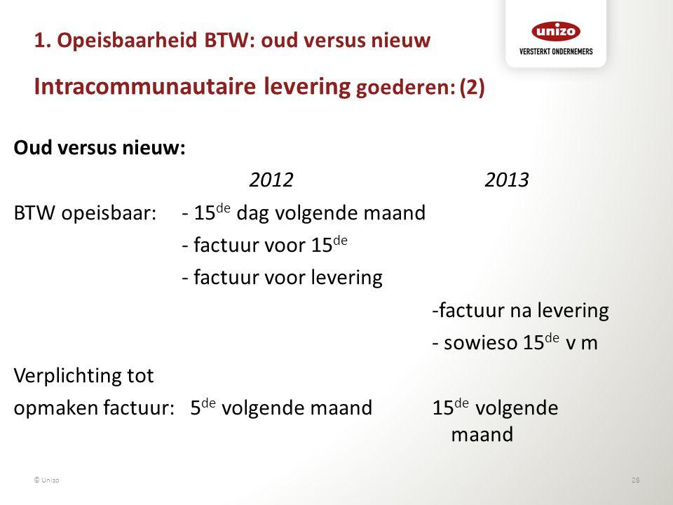 1. Opeisbaarheid BTW: oud versus nieuw Intracommunautaire levering goederen: (2)