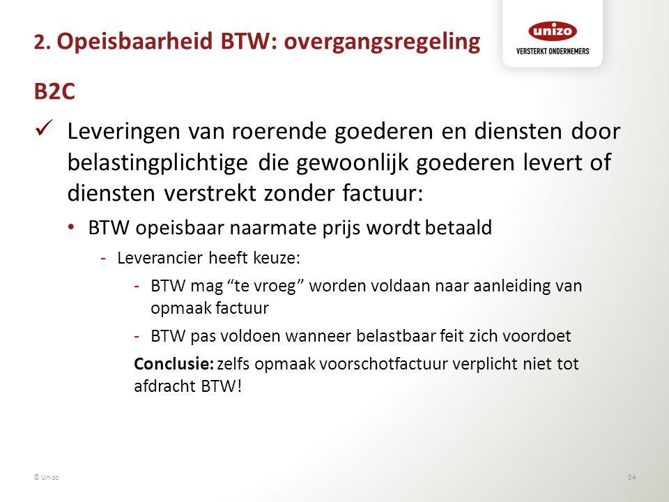 2. Opeisbaarheid BTW: overgangsregeling B2C