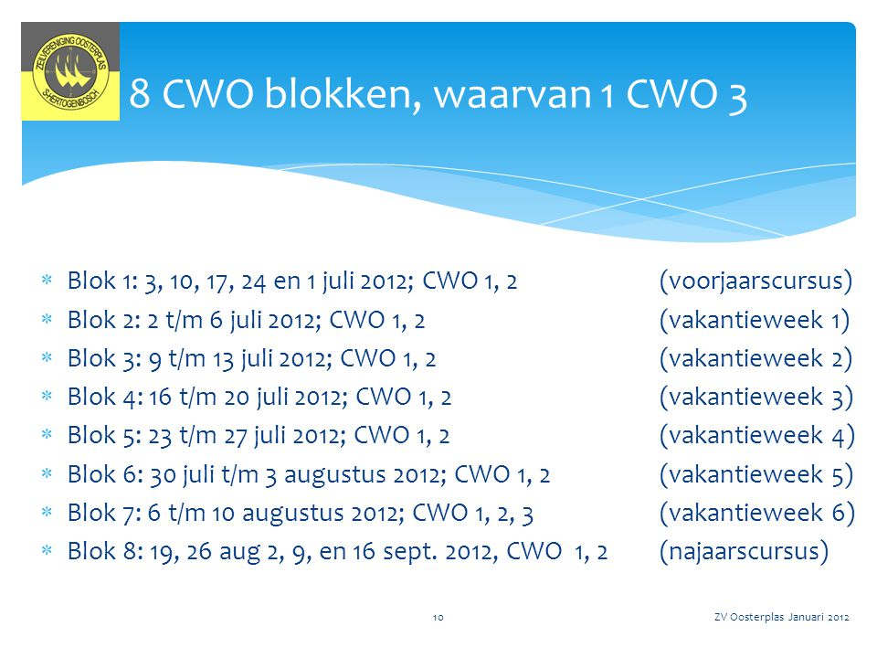 8 CWO blokken, waarvan 1 CWO 3