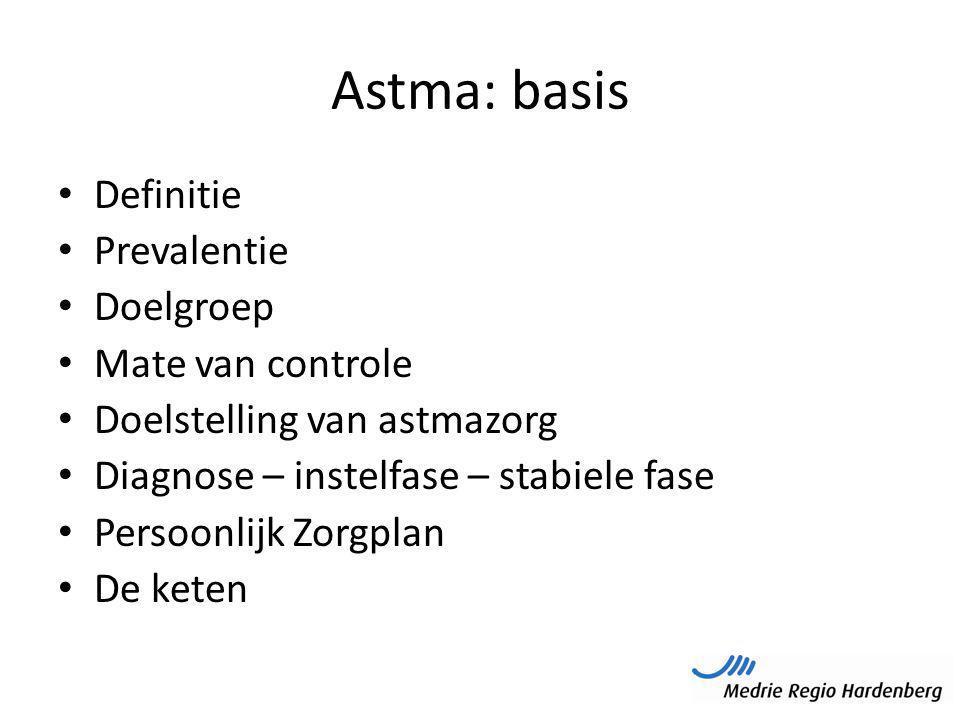 Astma: basis Definitie Prevalentie Doelgroep Mate van controle