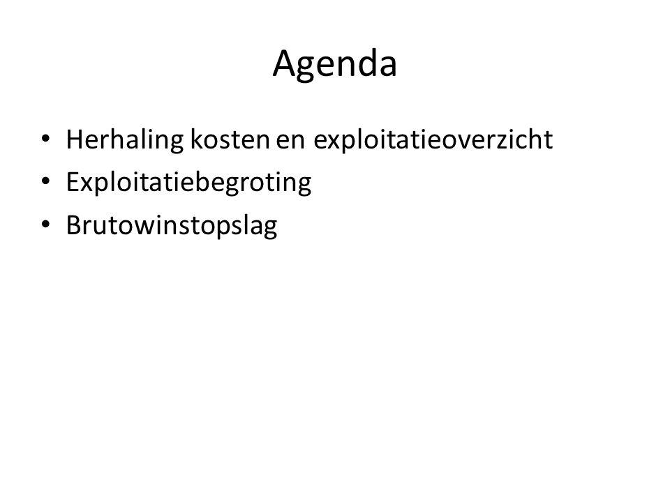 Agenda Herhaling kosten en exploitatieoverzicht Exploitatiebegroting