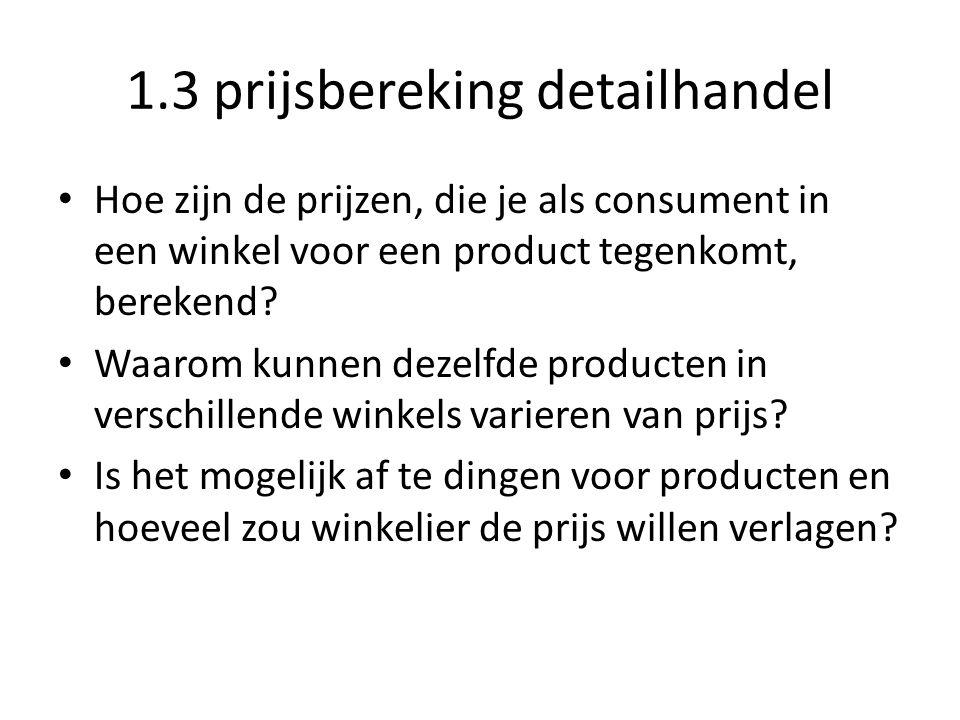 1.3 prijsbereking detailhandel
