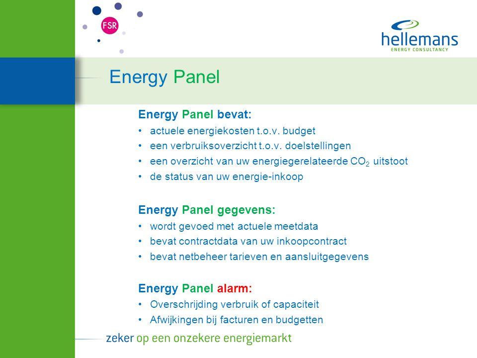 Energy Panel Energy Panel bevat: Energy Panel gegevens: