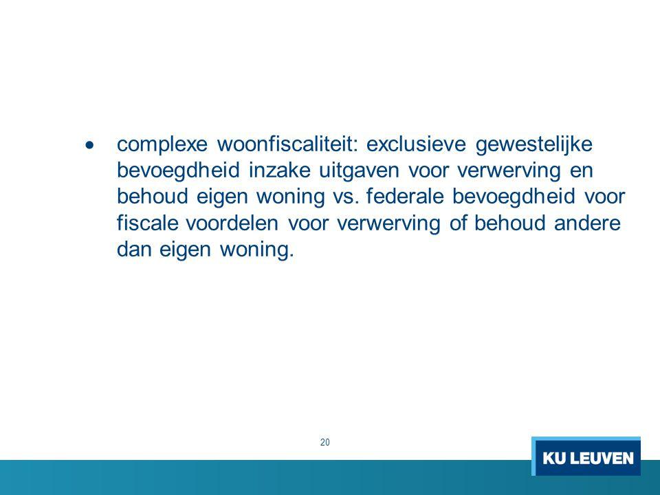 complexe woonfiscaliteit: exclusieve gewestelijke bevoegdheid inzake uitgaven voor verwerving en behoud eigen woning vs.