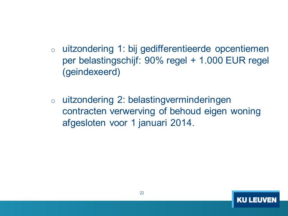 uitzondering 1: bij gedifferentieerde opcentiemen per belastingschijf: 90% regel + 1.000 EUR regel (geindexeerd)