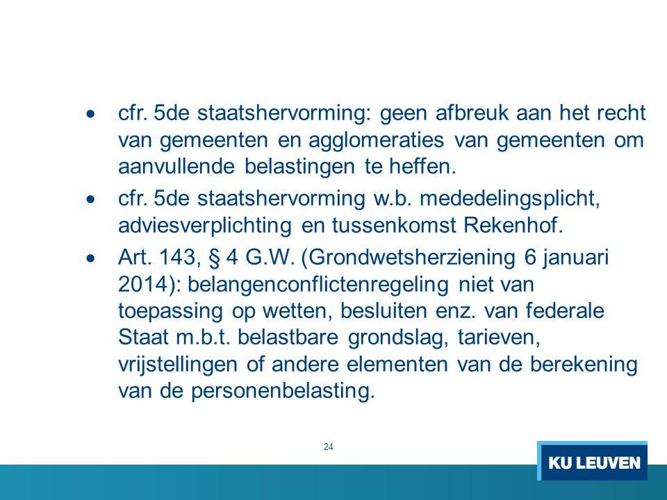 cfr. 5de staatshervorming: geen afbreuk aan het recht van gemeenten en agglomeraties van gemeenten om aanvullende belastingen te heffen.