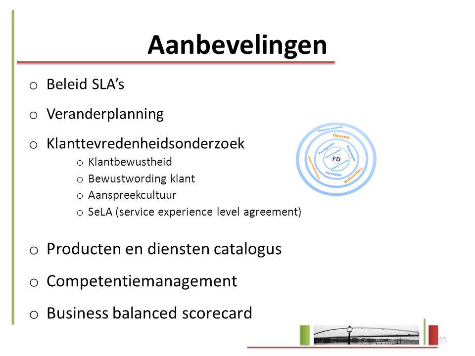 Aanbevelingen Producten en diensten catalogus Competentiemanagement