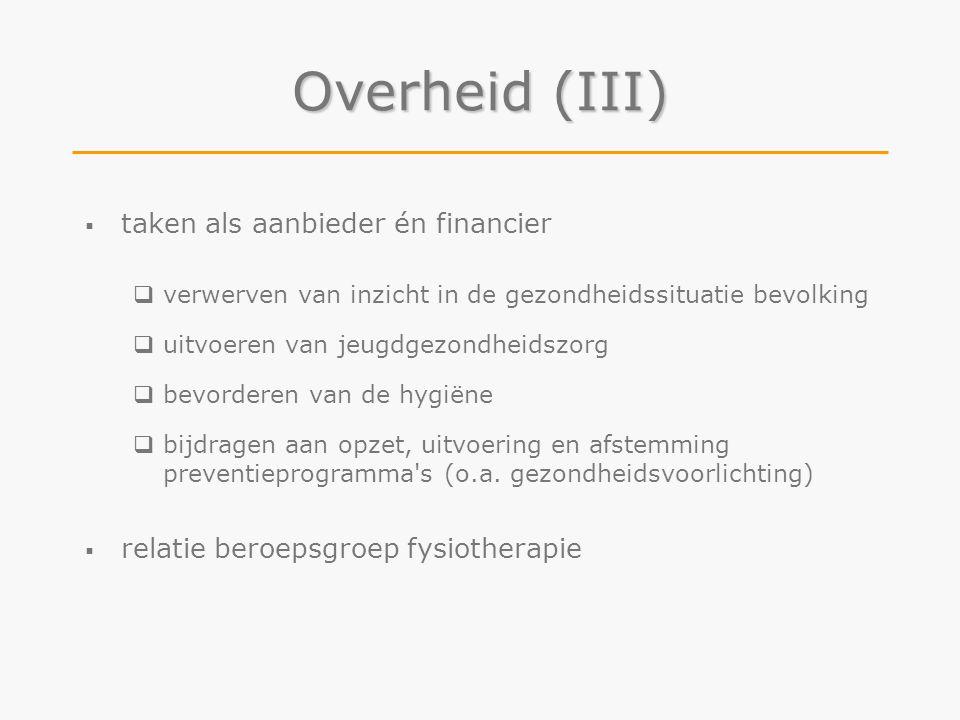 Overheid (III) taken als aanbieder én financier