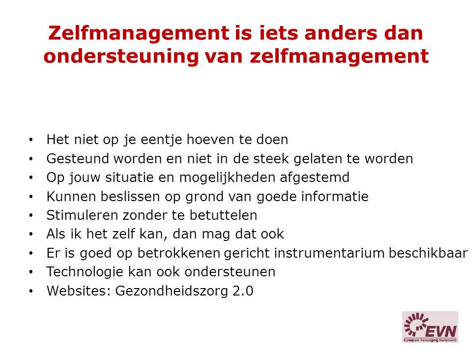 Zelfmanagement is iets anders dan ondersteuning van zelfmanagement