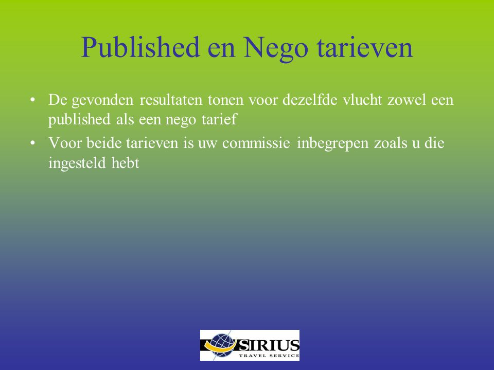 Published en Nego tarieven
