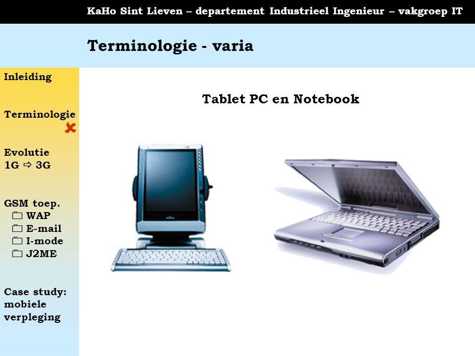 Terminologie - varia Tablet PC en Notebook 