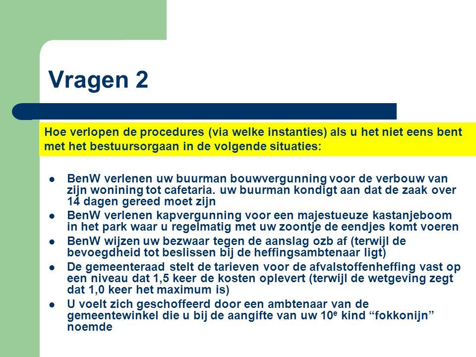 Vragen 2 Hoe verlopen de procedures (via welke instanties) als u het niet eens bent met het bestuursorgaan in de volgende situaties: