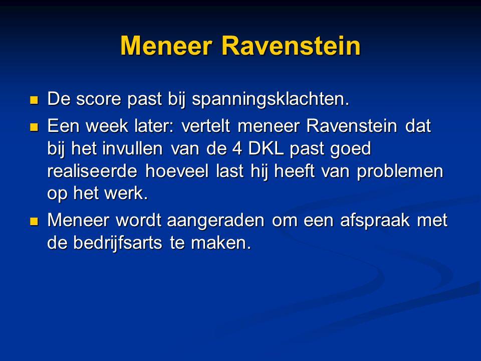 Meneer Ravenstein De score past bij spanningsklachten.