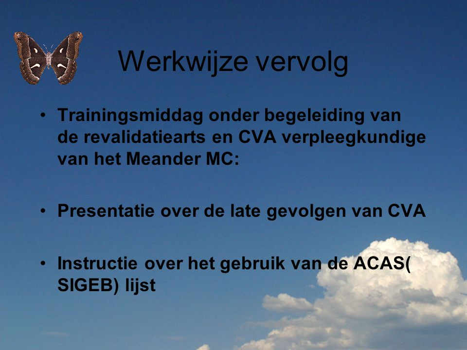 Werkwijze vervolg Trainingsmiddag onder begeleiding van de revalidatiearts en CVA verpleegkundige van het Meander MC: