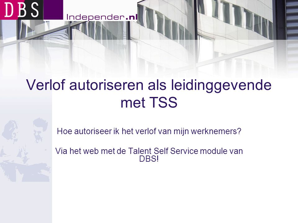 Verlof autoriseren als leidinggevende met TSS