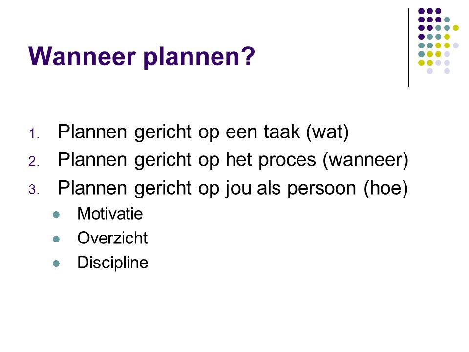 Wanneer plannen Plannen gericht op een taak (wat)