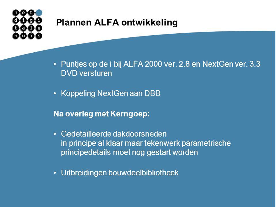 Plannen ALFA ontwikkeling