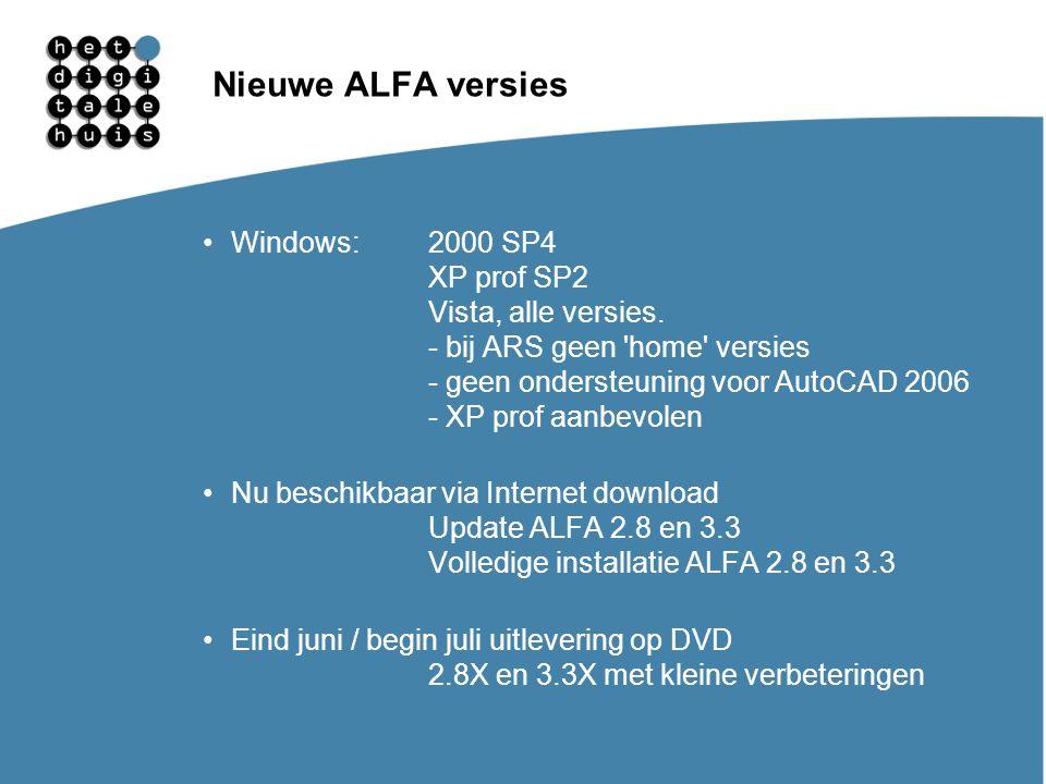Nieuwe ALFA versies