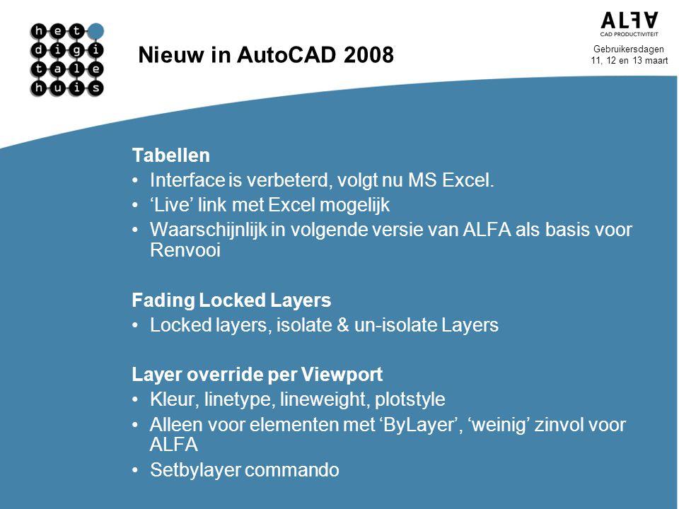 Nieuw in AutoCAD 2008 Tabellen