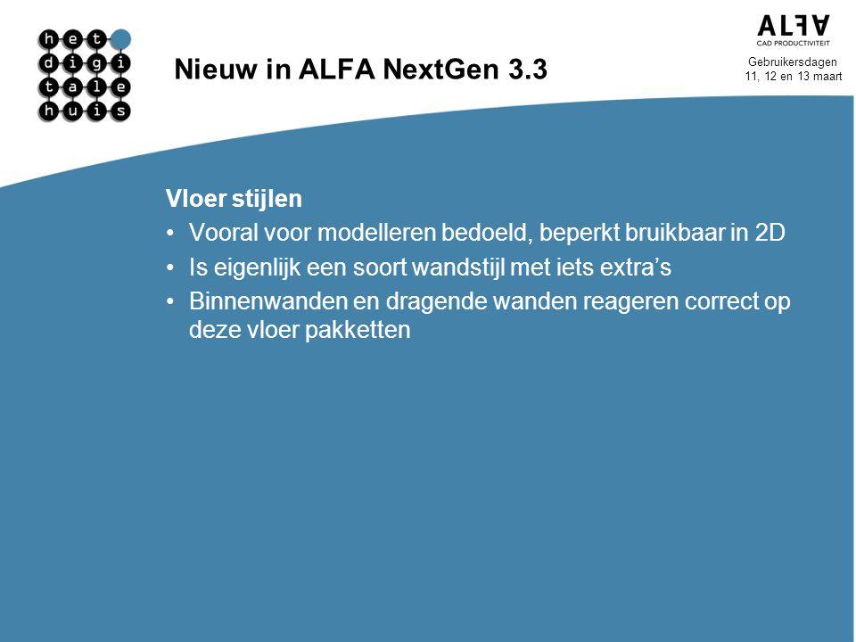 Nieuw in ALFA NextGen 3.3 Vloer stijlen