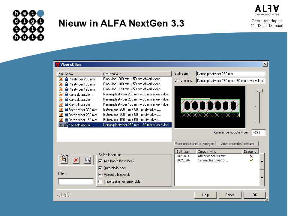 Nieuw in ALFA NextGen 3.3 Nieuwe editors Wandstijl Vloerstijl