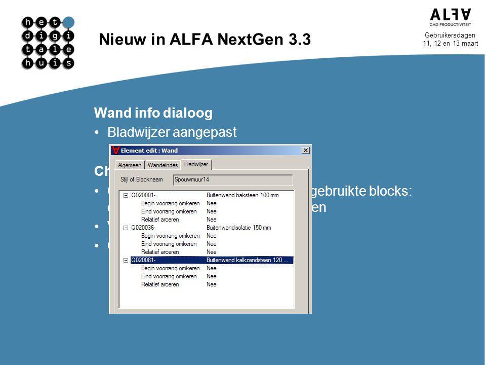 Nieuw in ALFA NextGen 3.3 Wand info dialoog Bladwijzer aangepast