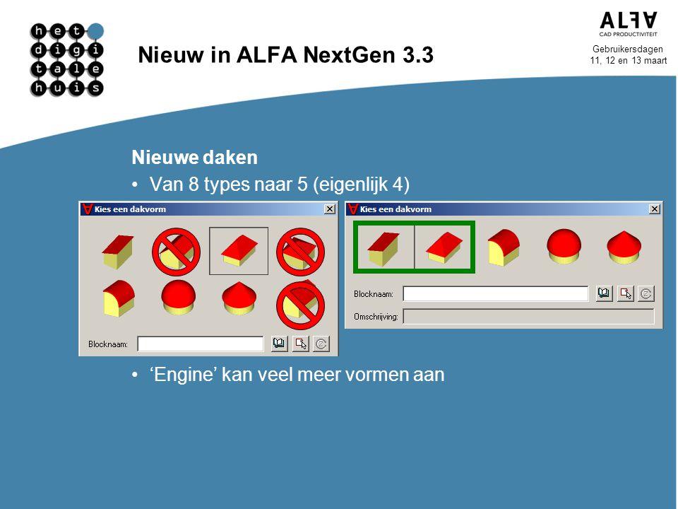 Nieuw in ALFA NextGen 3.3 Nieuwe daken